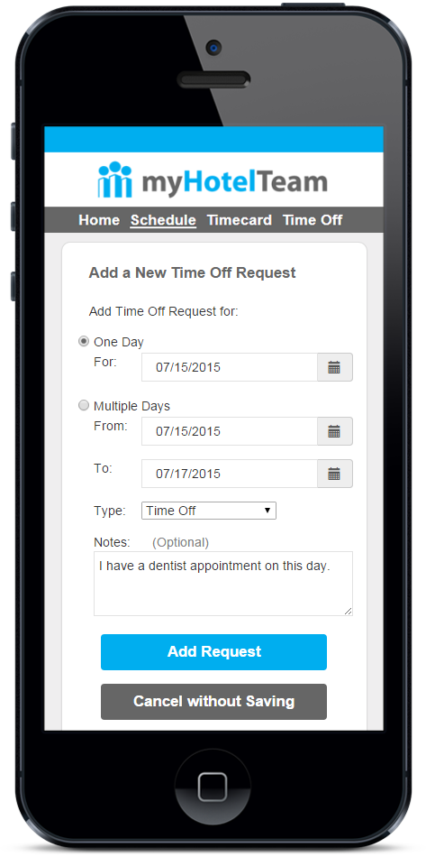 Simplify Time Off Requests